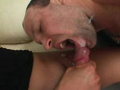Shemale fucks guy and cums on him