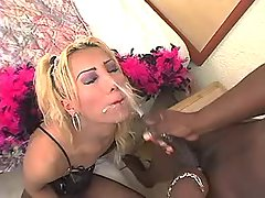 Blond shemale and hunk jizz by turn