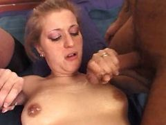 Shemale and man jizz on lusty girl