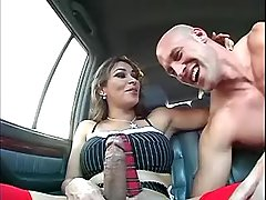Nice guy deep throats latin ts cock