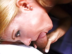 Cute big breasted MILF in moist blowjob action here