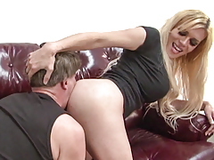Golden-haired shemale hottie Jesse punching her rod down guy's mouth