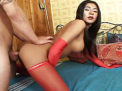 Dirty transexual with red underwear is ass-stretched nicely
